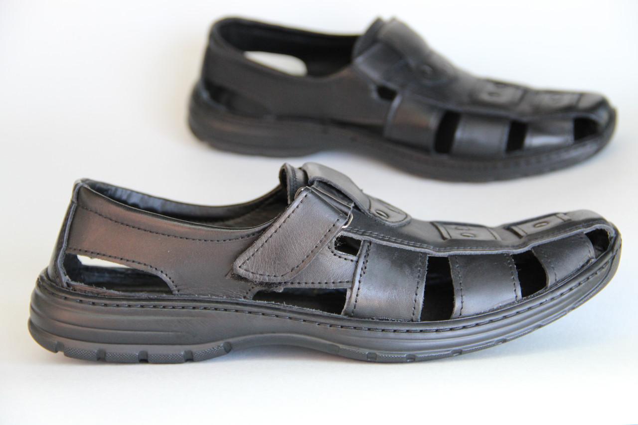 Летние мужские туфли из натуральной кожи на липучке AN сандали