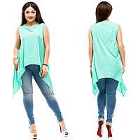 Женская лёгкая асиметричная блуза с хвостами. БАТАЛ, фото 1