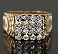 Стильное кольцо - печатка с фианитами, покрытое золотом (129820) 585, 18.5