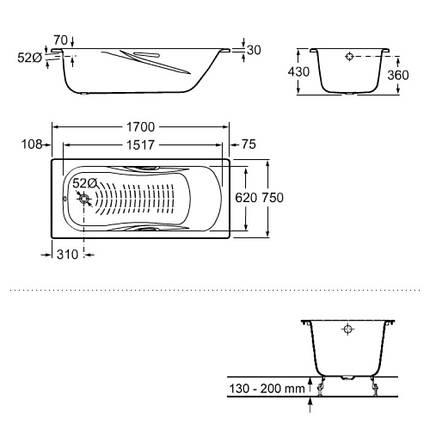 Стальная ванна Roca PRINCESS АКЦИЯ! 170*75см, с ручками + Сифон Viega Simplex для ванны, фото 2