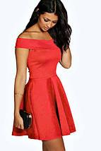 Новое красное платье с открытыми плечами Boohoo, фото 3