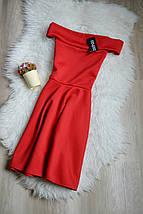 Новое красное платье с открытыми плечами Boohoo, фото 2