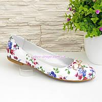 Туфли женские из натуральной кожи с цветочным принтом
