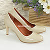 Женские классические лаковые бежевые туфли на шпильке, фото 4