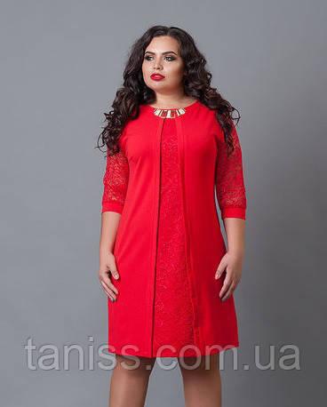 Платье из креп-дайвинга, рукава гипюр, на спине молния р.50 красный  (505)
