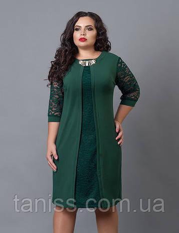 Сукня з креп-дайвінгу, рукави гіпюр, на спині блискавка р. 58,60 зелений (505)