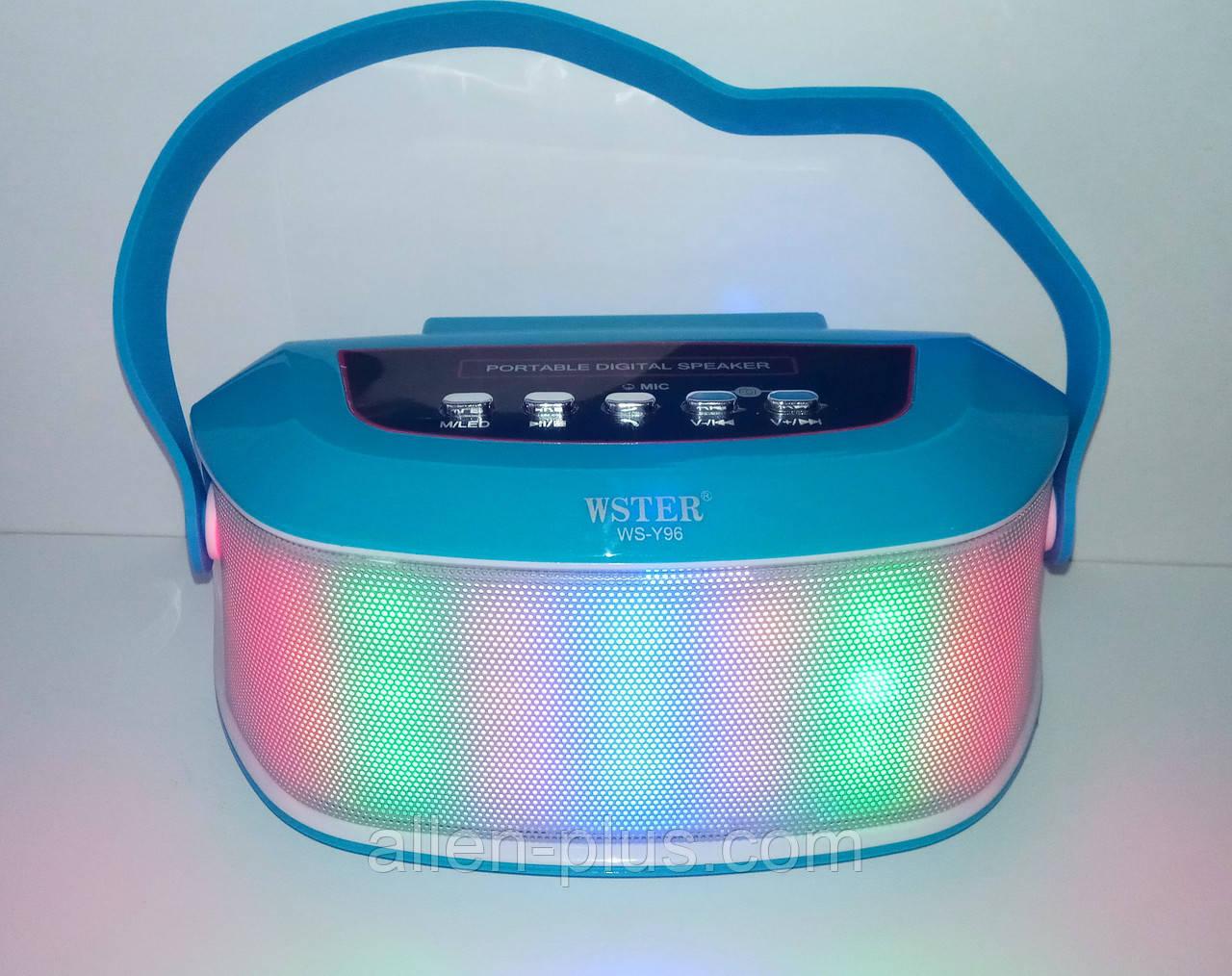 Акустична Bluetooth-колонка зі світломузикою WSTER WS-Y96, blue