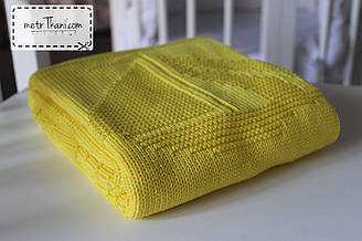 """В'язаний плед 100% бавовна """"Кораблик"""" жовто-лимонний 80/90 см №58 -16"""
