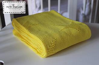 """Плед вязанный желто-лимонного цвета 100% хлопок 80/90 """"Звёздочка"""" см №56-18"""
