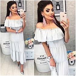 Платье летнее с воланами, новинка 2018, модель 101, серая полосочка