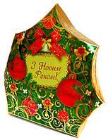 Упаковка праздничная новогодняя из картона Ёлка Золотая, 1000г
