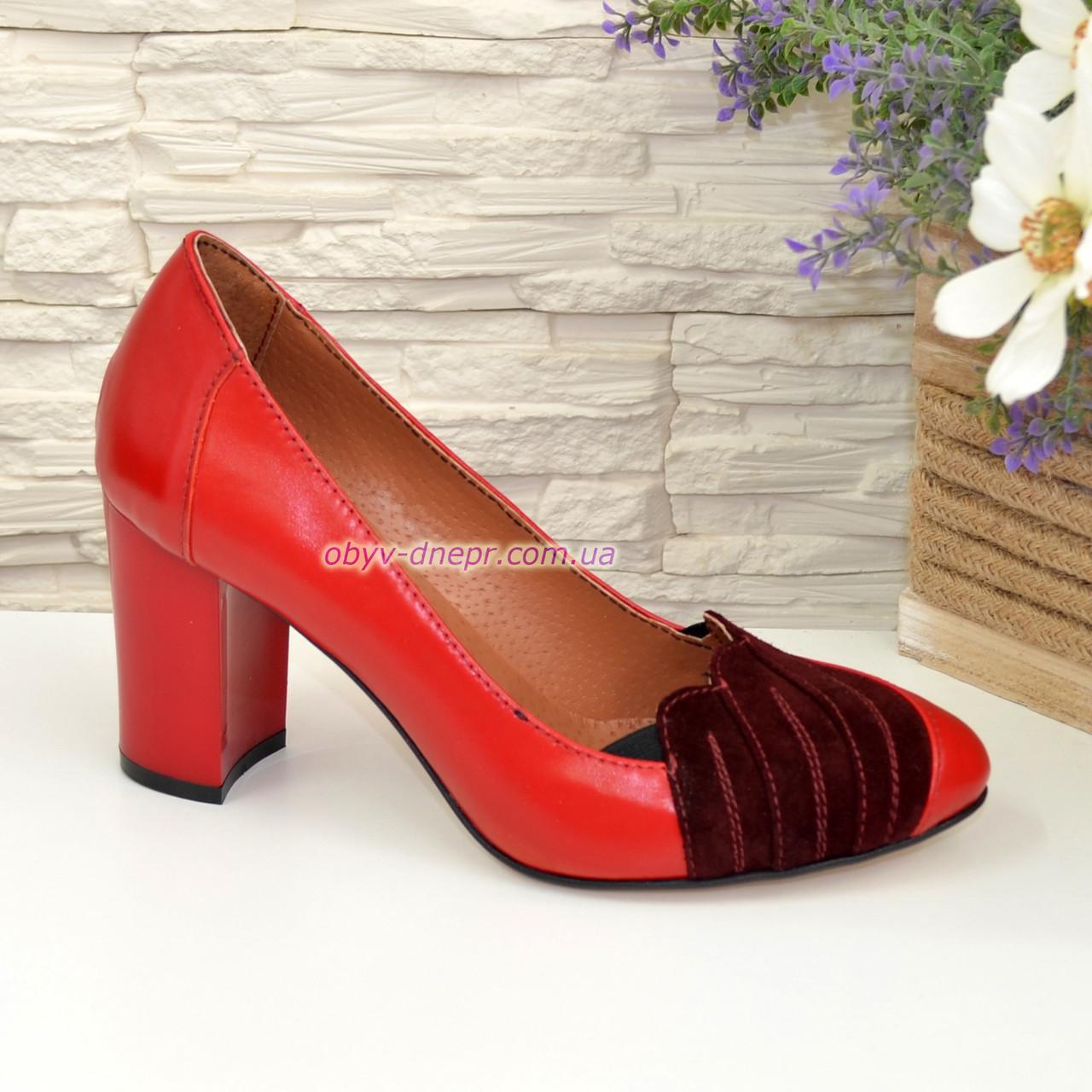 Туфли женские на каблуке, цвет красный/бордо