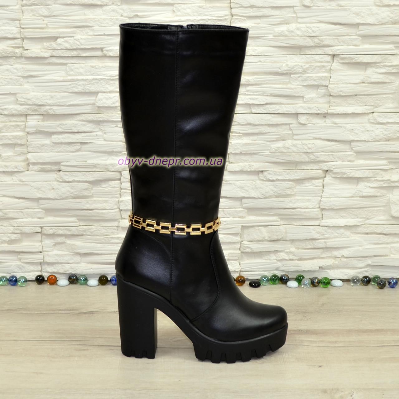 Сапоги женские кожаные демисезонные на устойчивом каблуке