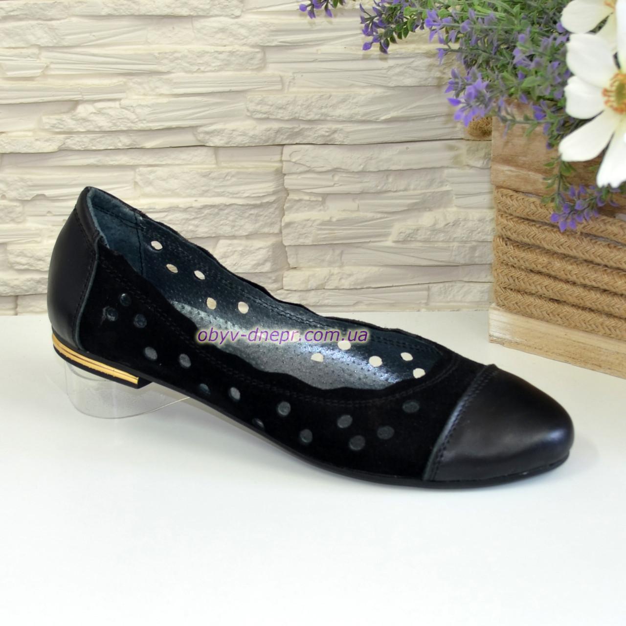 Туфли женские черного цвета, натуральная кожа и замша