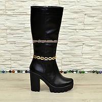 Сапоги женские кожаные зимние на устойчивом каблуке
