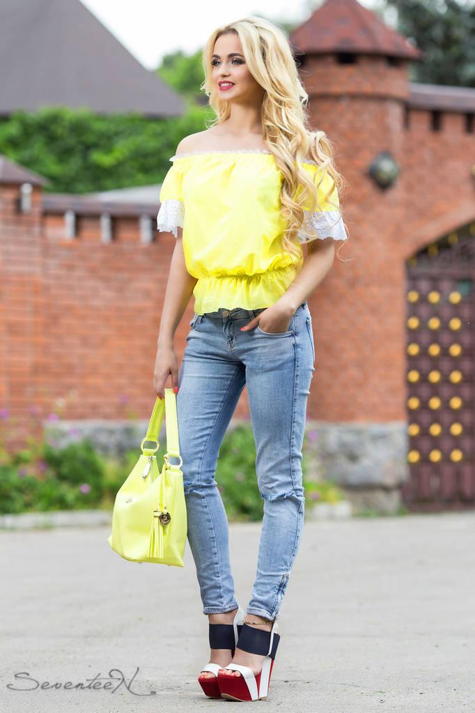 Женская Блуза, цвет: желтый