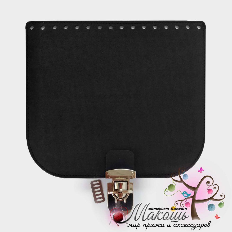 Клапан для сумки с замочком 20х18 см, 013, черный матовый