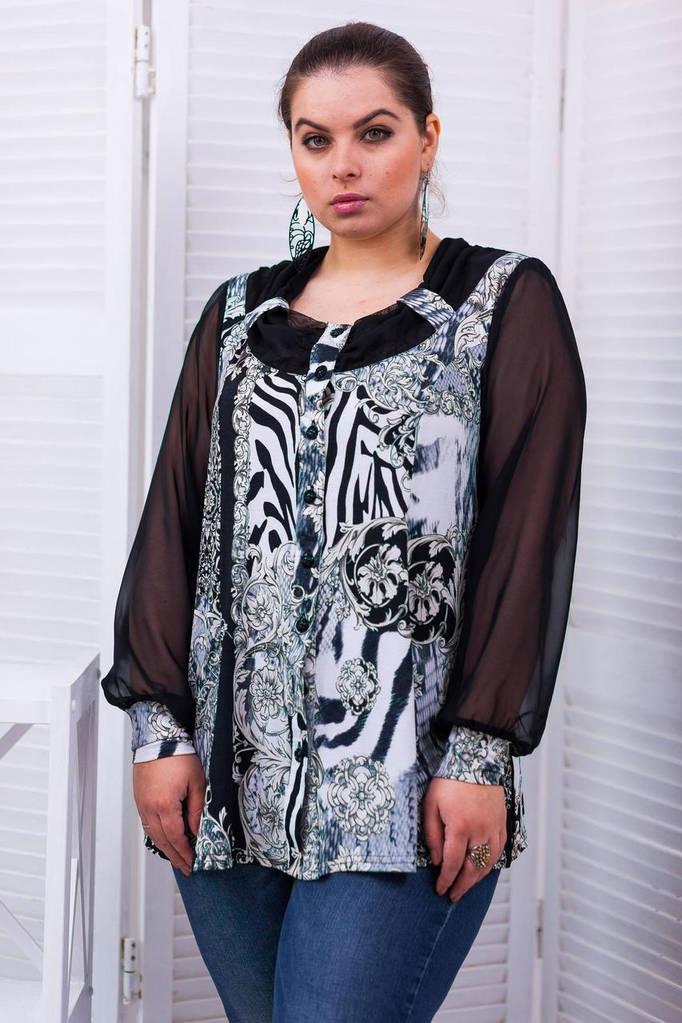 Женская Блуза с шифоновым рукавом тигровый принт, цвет: черный