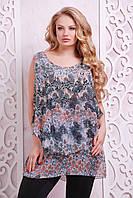 Женская Многослойная блуза принт перья, цвет: голубой