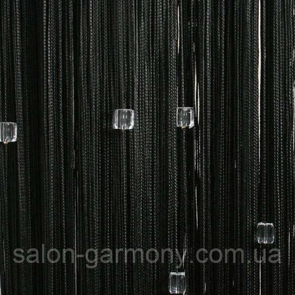 Серпанок з квадратним стеклярусом 9+111 (чорні з прозорим стеклярусом)