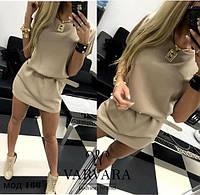 Женское модное мини платье с поясом, фото 1