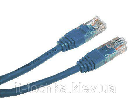 """Патч корд cablexpert pp12-2m/b, utp, категория.5e, литой, 50u """"штекер с защелкой, 2 м, синий"""