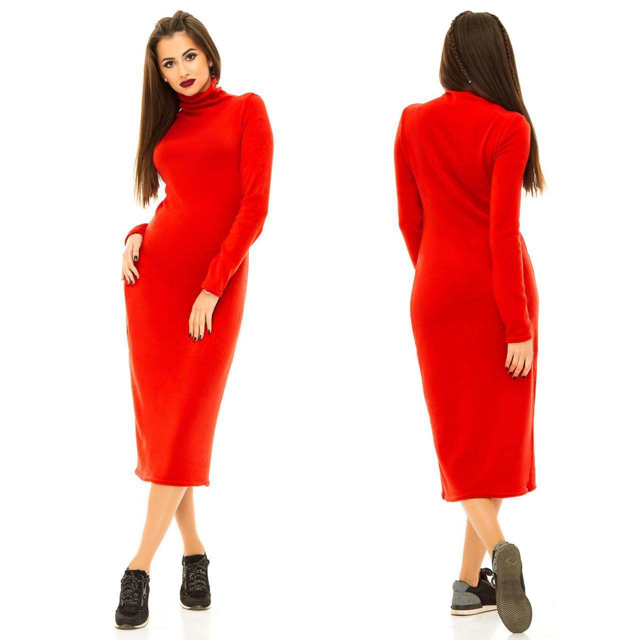 ea9f1649a82 Ярко-красное ангоровое женское платье прямого кроя с воротником стойка  Арт-6767 64