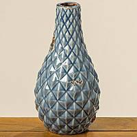 Ваза Чешуя голубая керамика h30см d15см Гранд Презент 1004833