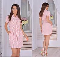 Женское платье-рубашка из льна, фото 1