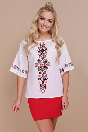 GLEM Орнамент красный блуза Мирана к/р, фото 2