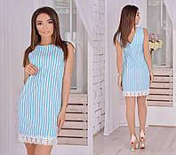 Платье женское полоска +кружево, фото 1