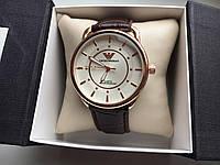 Мужские наручные часы Emporio Armani  (Эмпорио Армани), золотой корпус с белым циферблатом