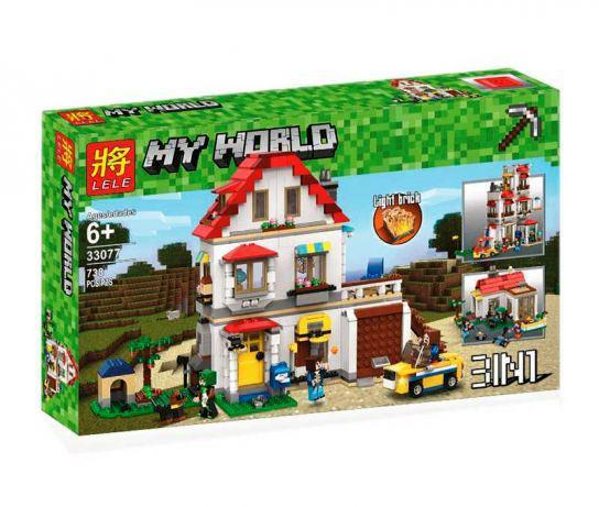Конструктор Lele 33077 Майнкрафт Minecraft 3 в 1 Элитный дом 738 дет