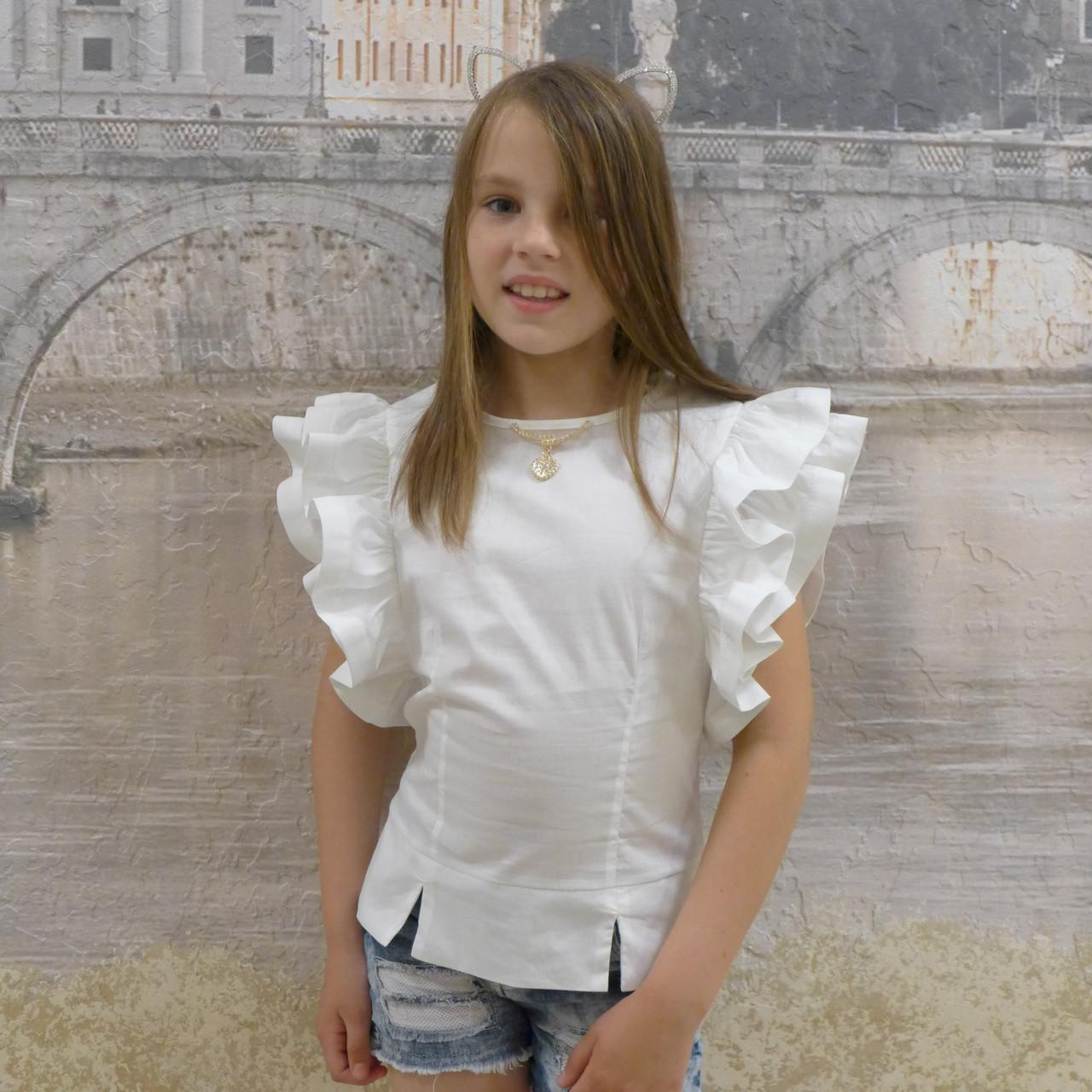 """Блузка для девочки """"Крыло-1018""""(белая)"""