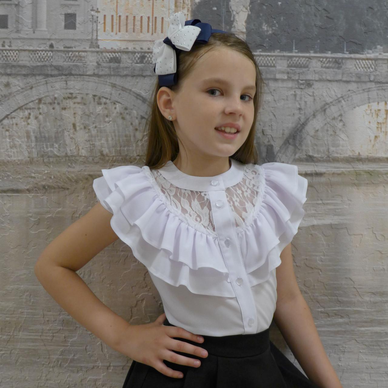"""Блузка для девочки """"Волан-гипюр,короткий рукав рукав""""(белая)"""
