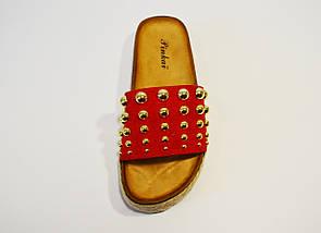 Шлепанцы женские красные 8118, фото 3