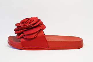 Красные шлепанцы с атласным цветком 830, фото 2
