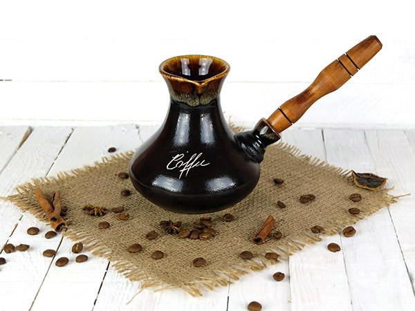 Турка Восточная керамическая с деревянной ручкой 400 мл + рассекатель