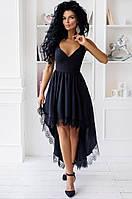 Женское нарядное платье в пол спереди короче