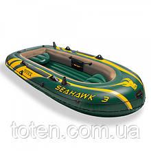 Човен надувний 295-137-43 см Іntex SEA HAWK 68380 весла + насос 68349