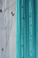 Шторы-нити со стеклярусом квадрат № 201 ( бирюза)