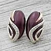 """Серебряные серьги с золотыми пластинами """"Елена"""", размер 28*15 мм, вставка бордовый улексит, вес 11.04 г"""
