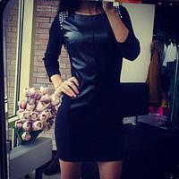 Черное женское облегающее короткое трикотажное платье с кожаной вставкой и шипами на плечах.  Арт-2308/2, фото 1