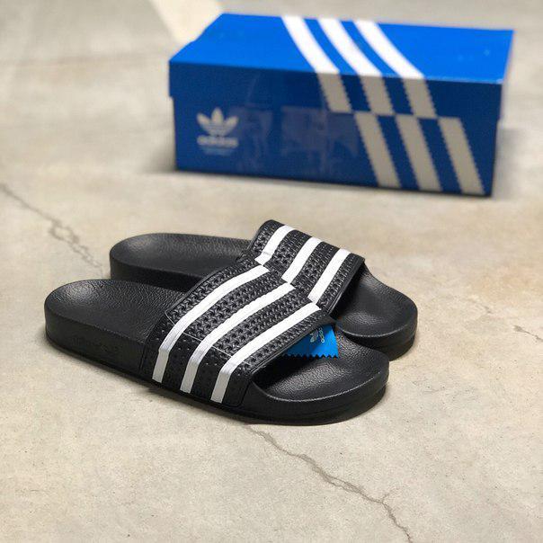 Мужские шлепанцы Adidas Adilette Black White,Реплика
