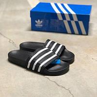 Мужские шлепанцы Adidas Adilette Black White,Реплика , фото 1