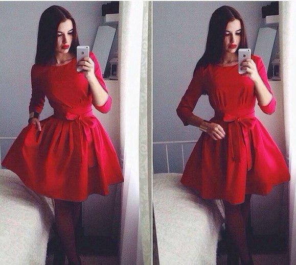 90e01a1d250 Красное женское приталенное платье с пышной юбкой. Арт-4193 2 ...