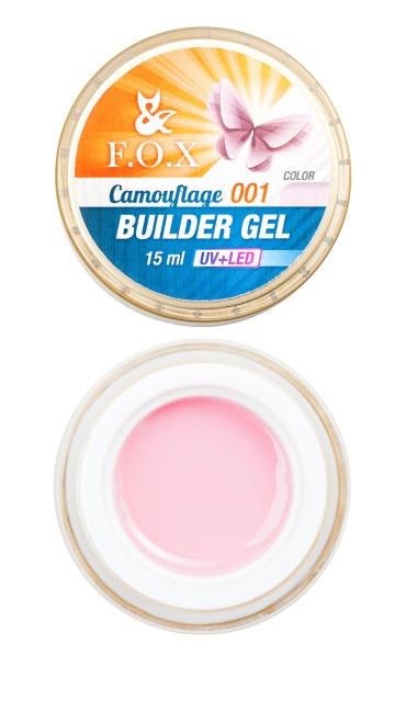 Камуфлирующий гель F.O.X Cover (camouflage) builder gel UV+LED #1, 15 мл