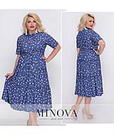 Женское летнее платье рубашечного кроя, клешная юбка. Размер 48, 50, 52, 54. В наличии 2 цвета, фото 1