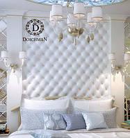 Стеновые панели, изголовье кровати из кожи на всю стену