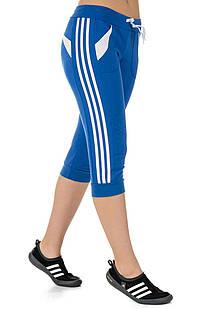 Женские спортивные бриджи с лампасами (джинс+белый)